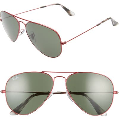 Ray-Ban Standard Original 5m Aviator Sunglasses - Transparent Red/ Green Solid