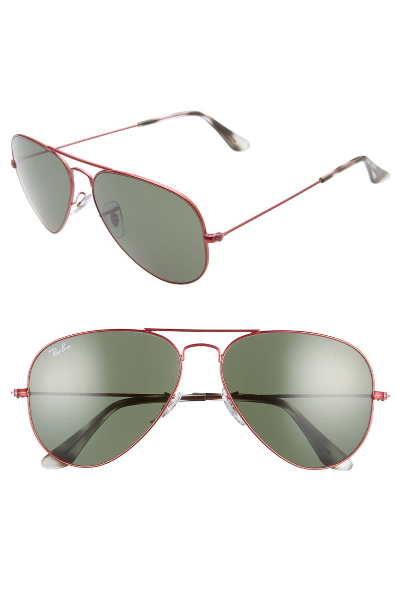 RAY-BAN Standard Original 58mm Aviator Sunglasses, Main, color, TRANSPARENT RED/ GREEN SOLID