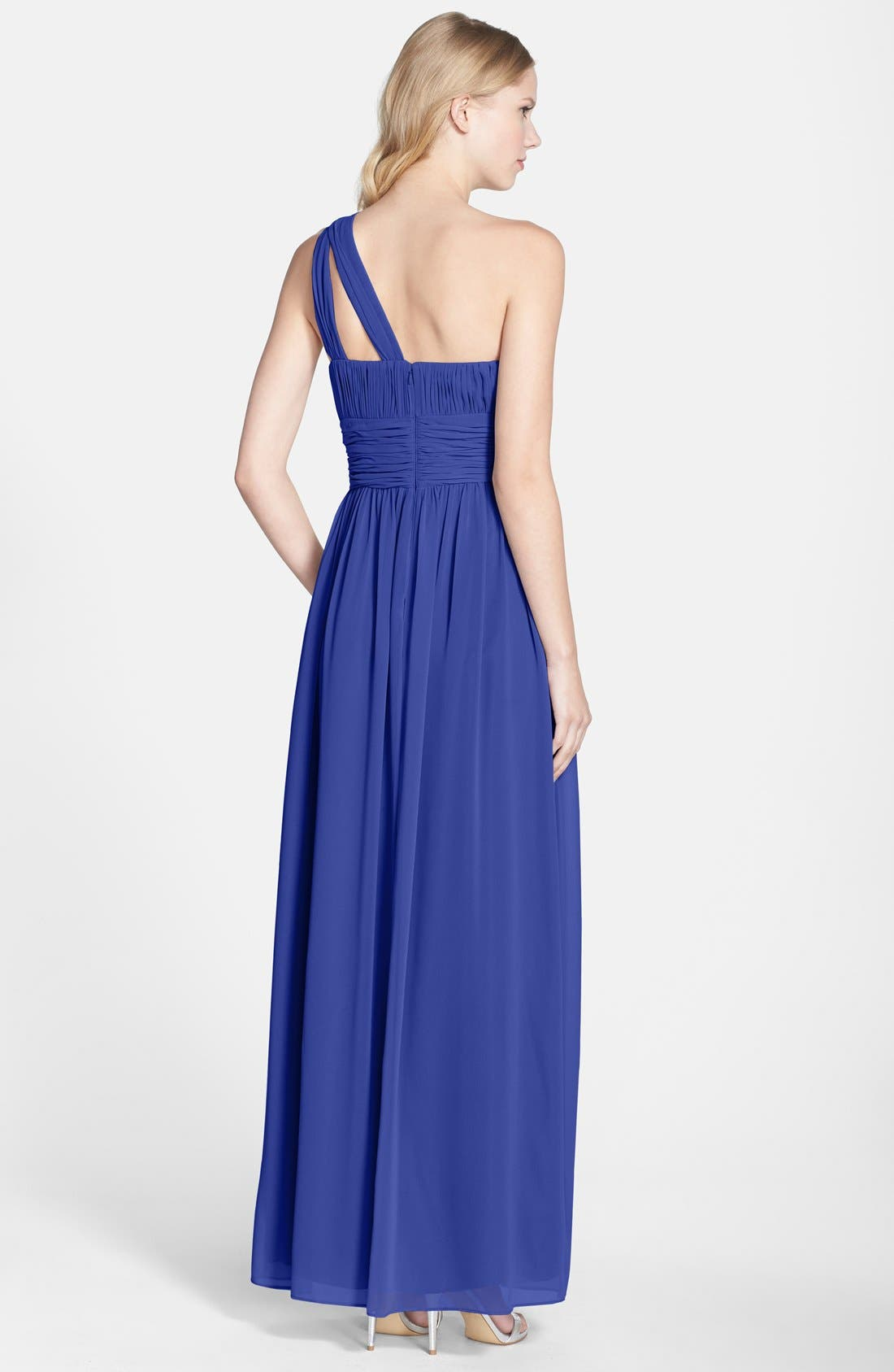 ,                             'Rachel' Ruched One-Shoulder Chiffon Gown,                             Alternate thumbnail 69, color,                             434