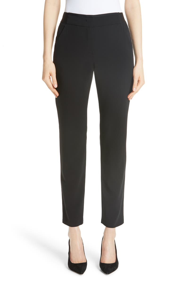 EMPORIO ARMANI Magic Stretch Wool Crepe Pants, Main, color, BLACK