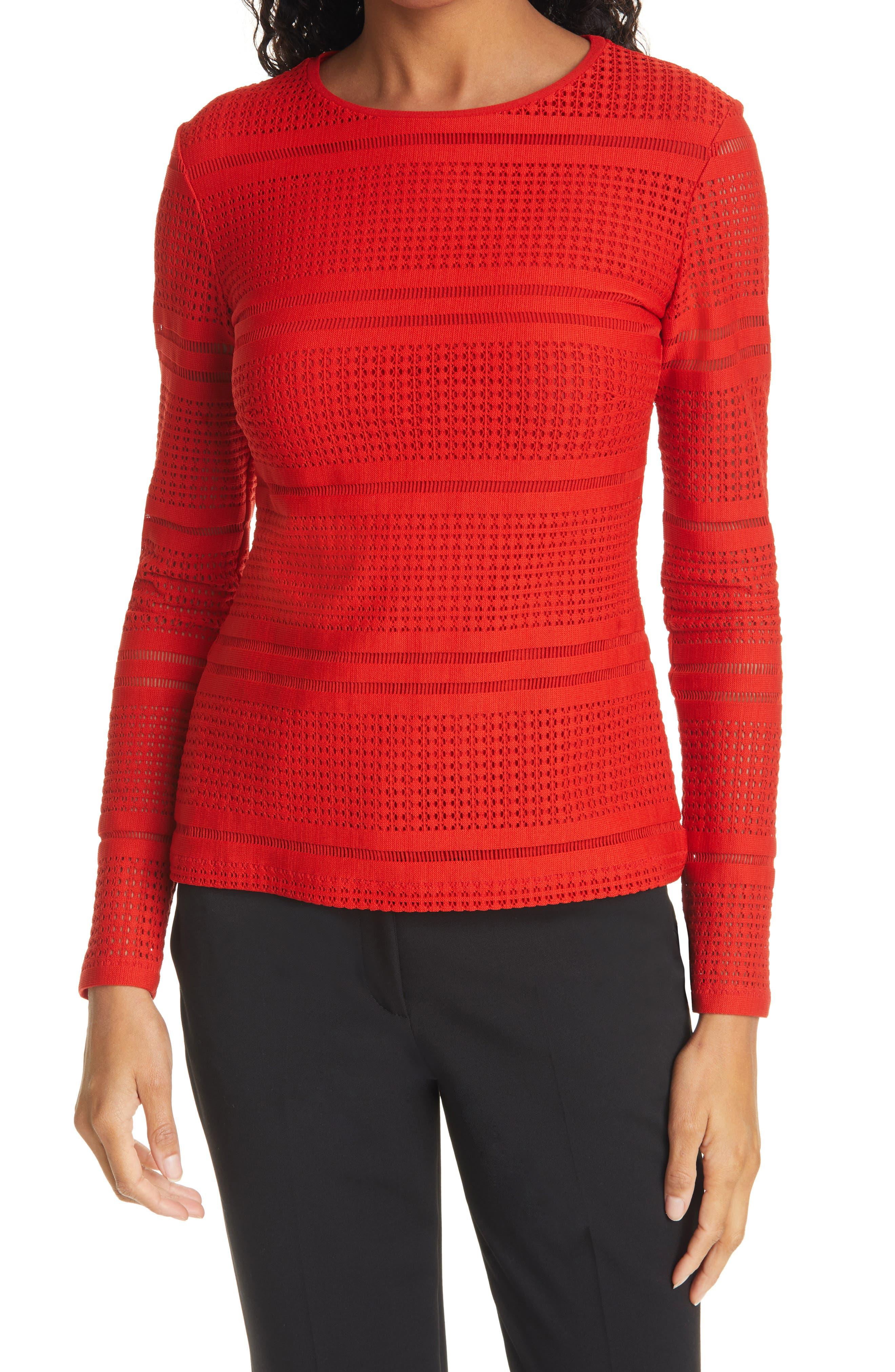 Open Weave Crewneck Sweater