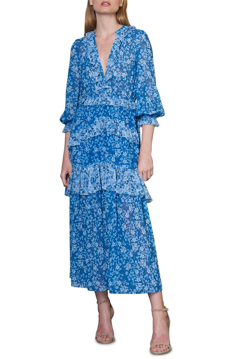 ML MONIQUE LHUILLIER Ruffle Tier Midi Dress, Main, color, BLUE MULTI