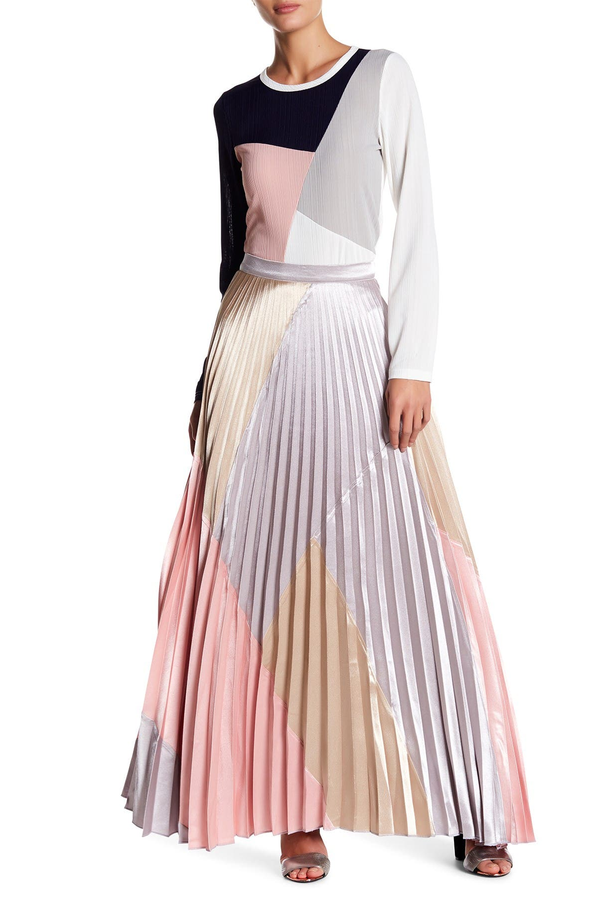 Image of Gracia Colorblock Pleated Maxi Skirt