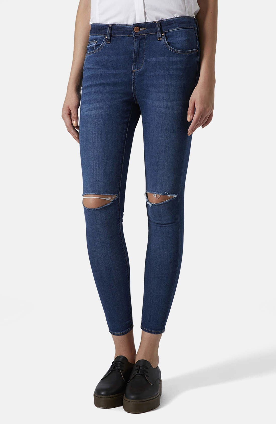 Moto 'Leigh' Vintage Ripped Jeans, Main, color, 400
