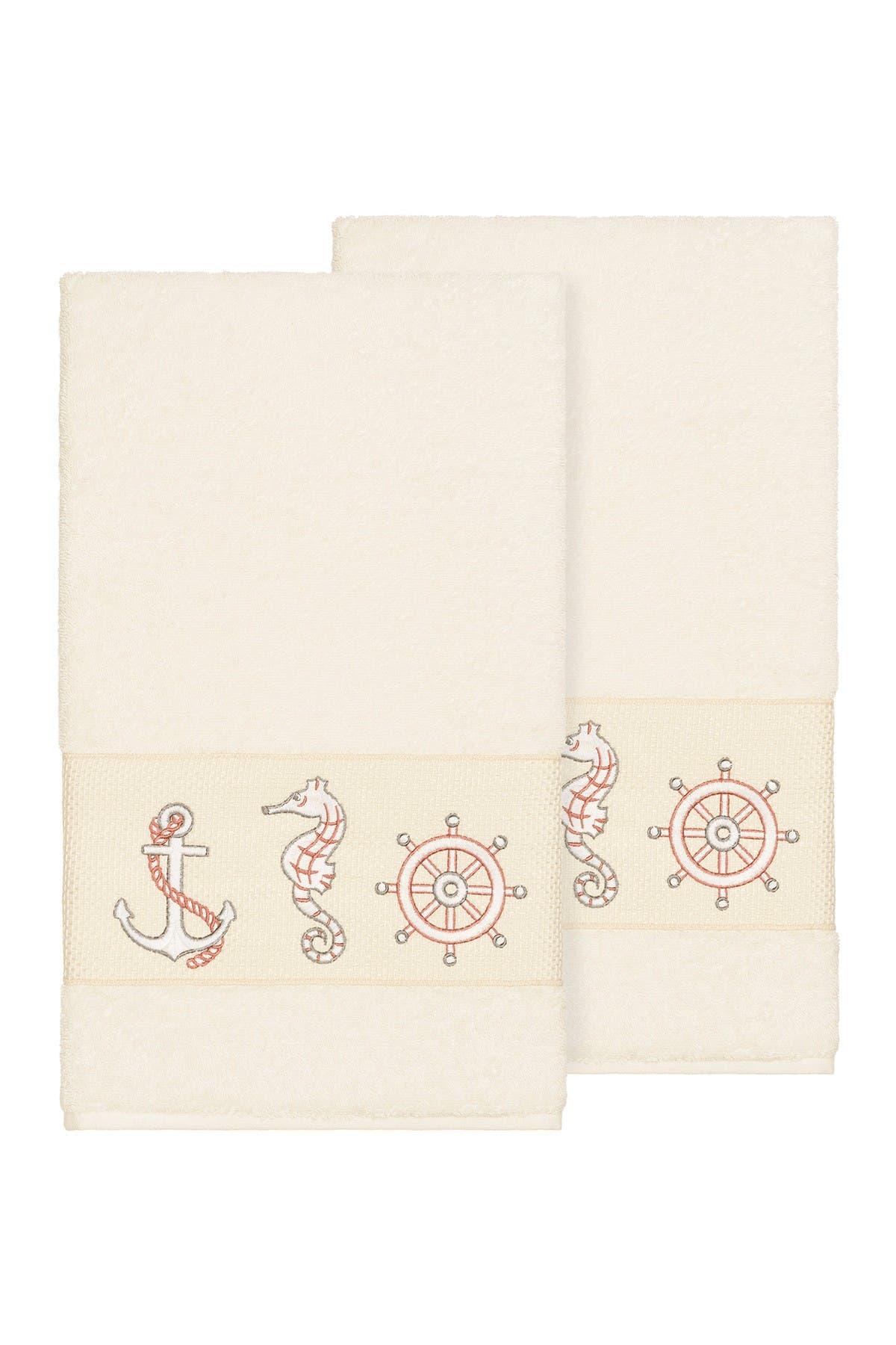 Image of LINUM HOME Easton Embellished Bath Towel - Set of 2 - Cream