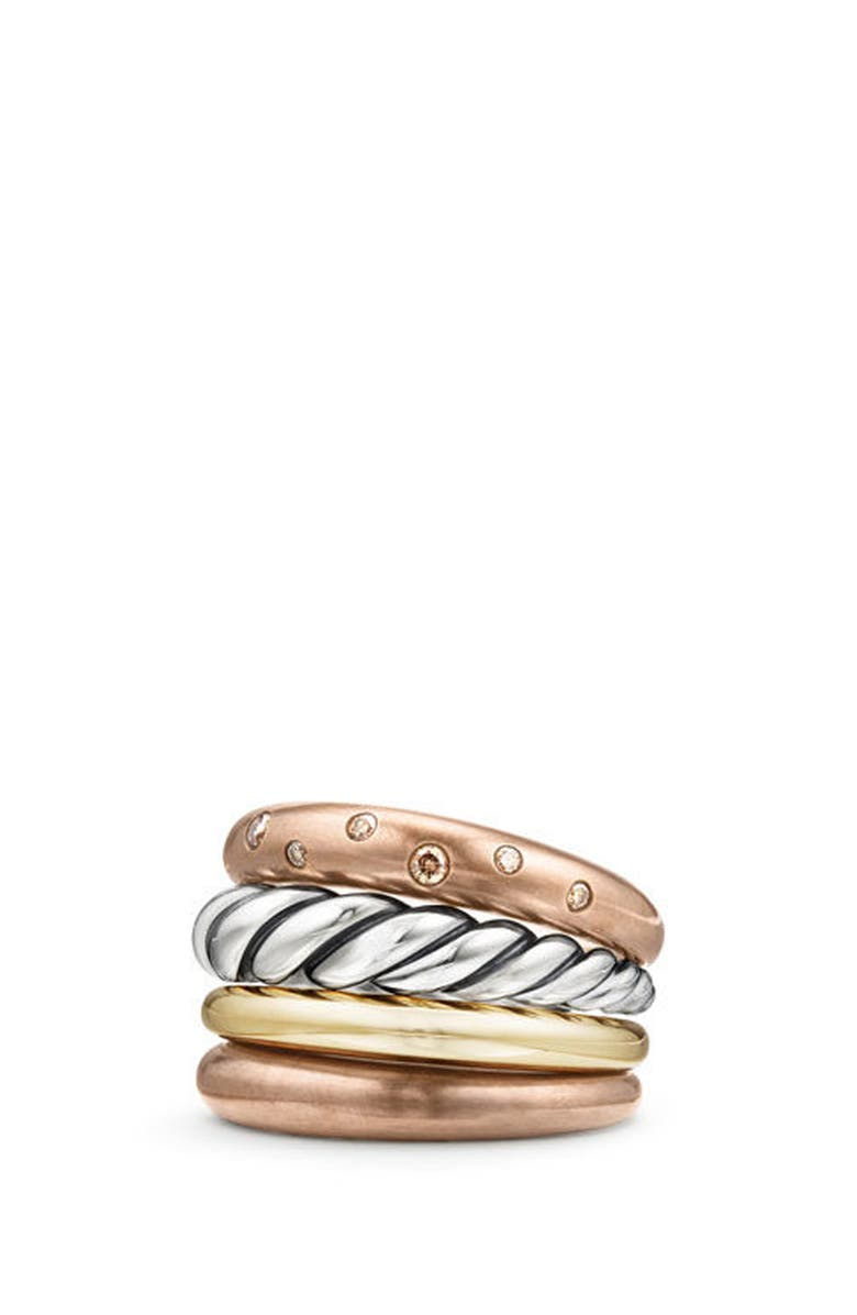 DAVID YURMAN Pure Form Mixed Metal Four-Row Ring with Diamonds, Bronze & Silver, 17.5mm, Main, color, 201