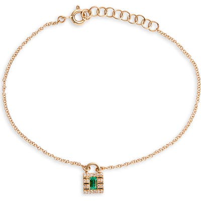 Ef Collection Mini Diamond Lock Charm Bracelet