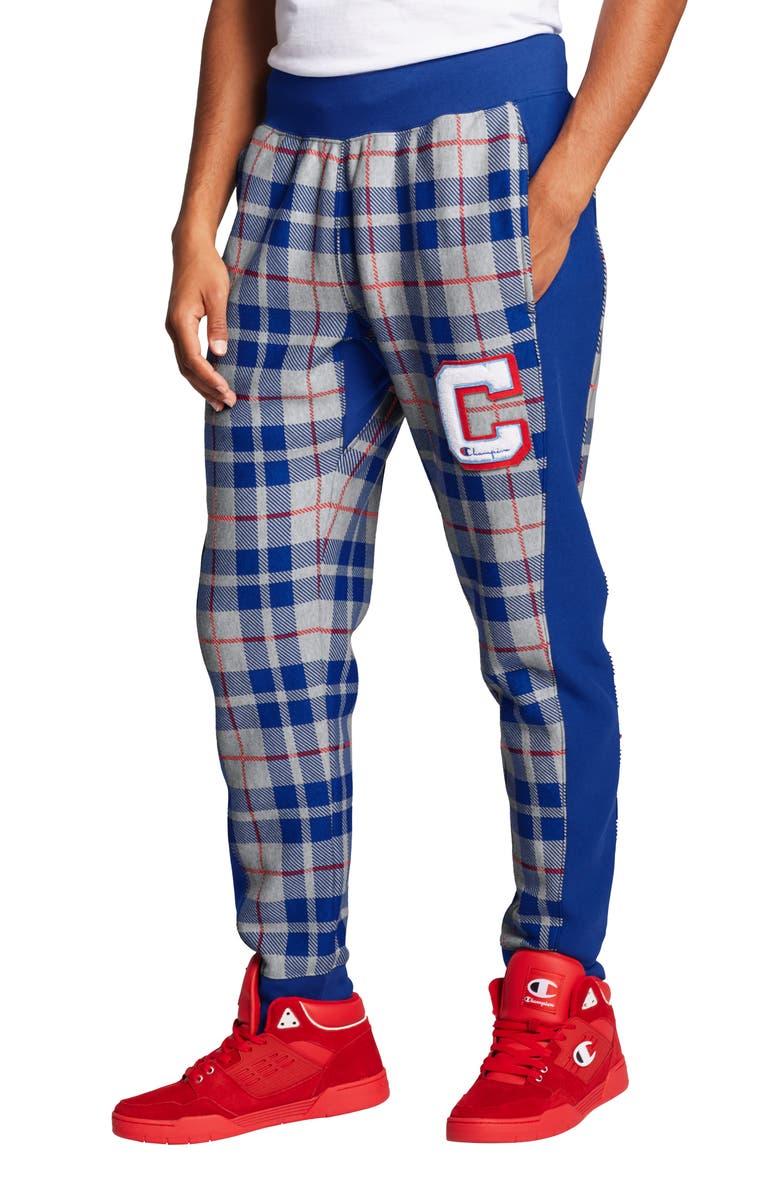 CHAMPION Plaid Print Sweatpants, Main, color, OXFORD GREY/ SURF THE WEB