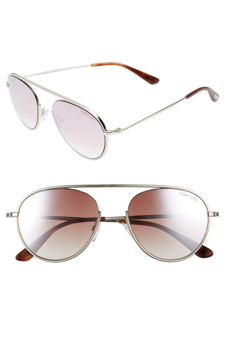 TOM FORD Keith 55mm Metal Aviator Sunglasses, Main, color, 040