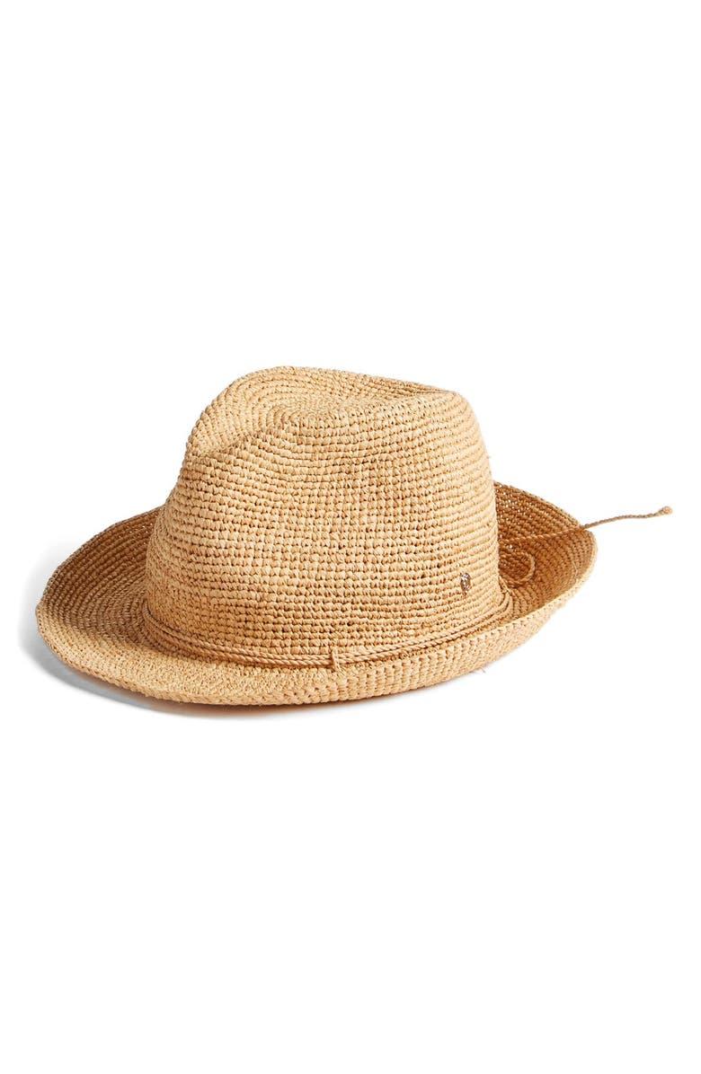 HELEN KAMINSKI Raffia Crochet Packable Sun Hat, Main, color, NOUGAT