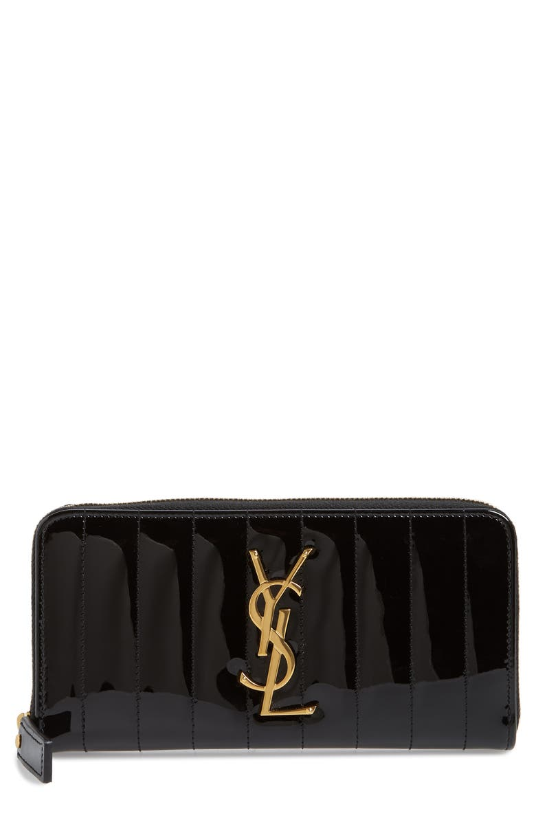 SAINT LAURENT Vicky Patent Leather Zip Around Wallet, Main, color, 001
