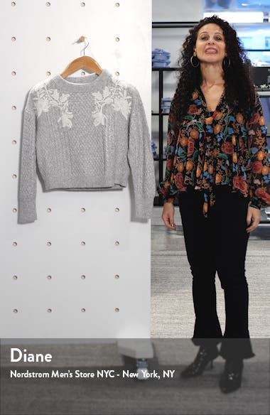 Lace Appliqué Crewneck Sweater, sales video thumbnail