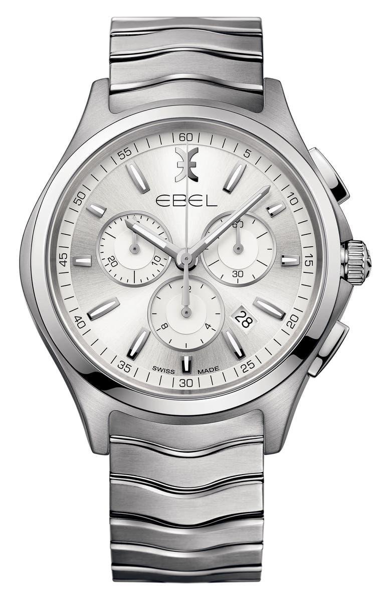 EBEL Wave Chronograph Bracelet Watch, 42mm, Main, color, SILVER