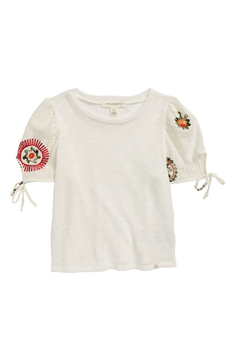 TREASURE & BOND Embroidered Sleeve Top, Main, color, IVORY