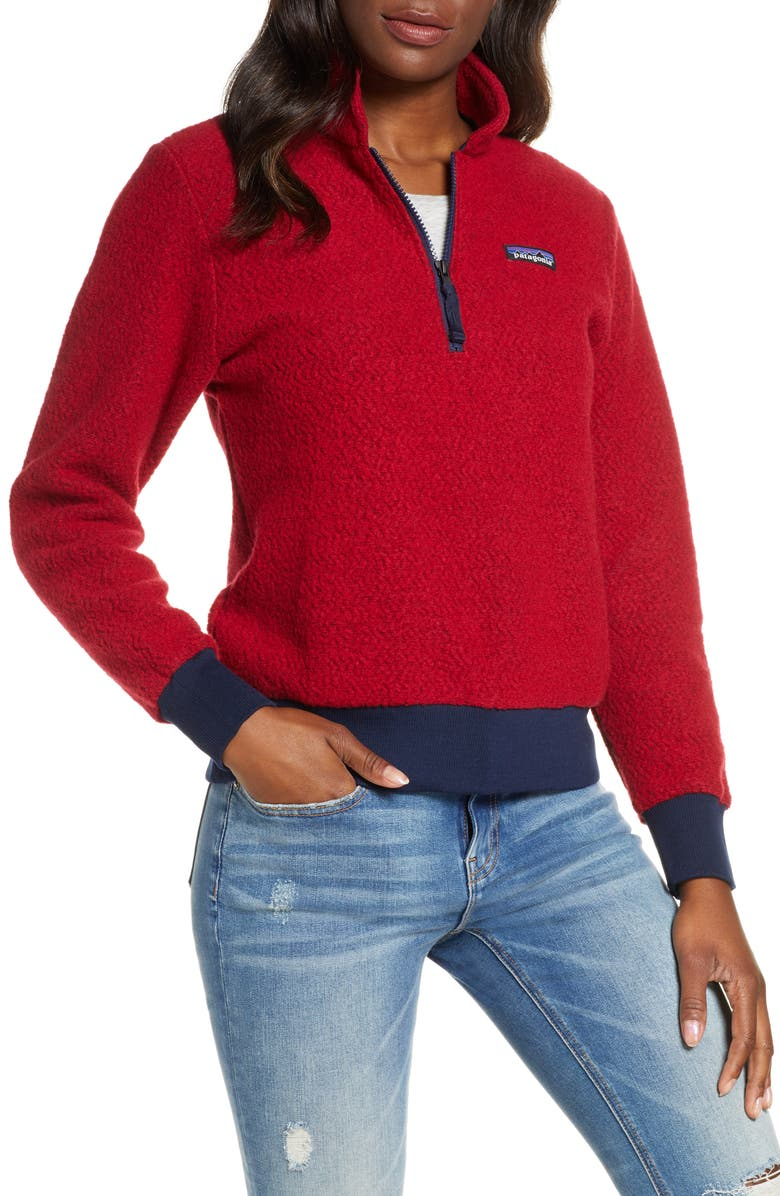 PATAGONIA Woolyester Fleece Quarter Zip Pullover, Main, color, MEV MOLTEN LAVA