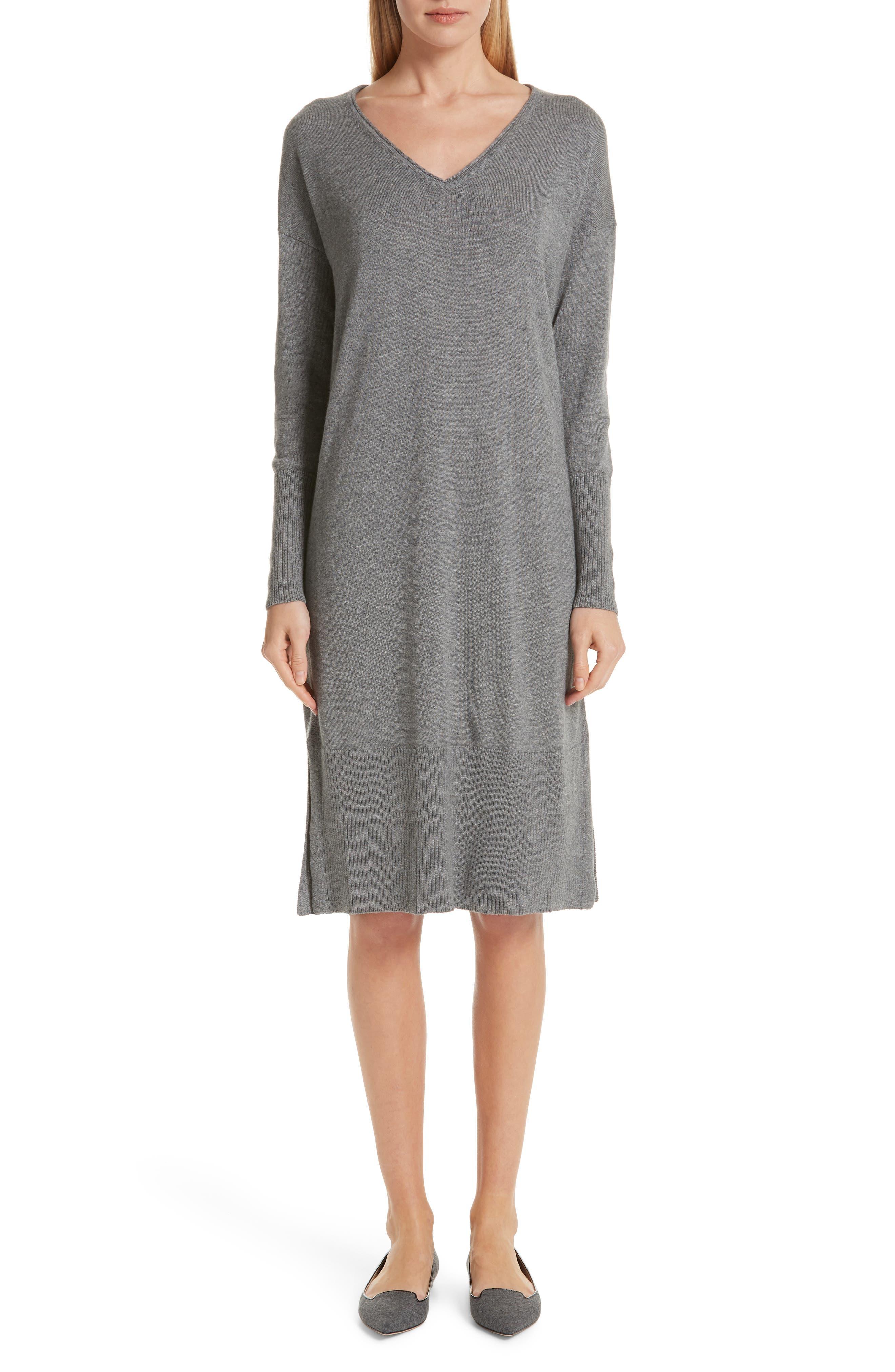 Lafayette 148 New York Cashmere & Silk Sweater Dress, Grey