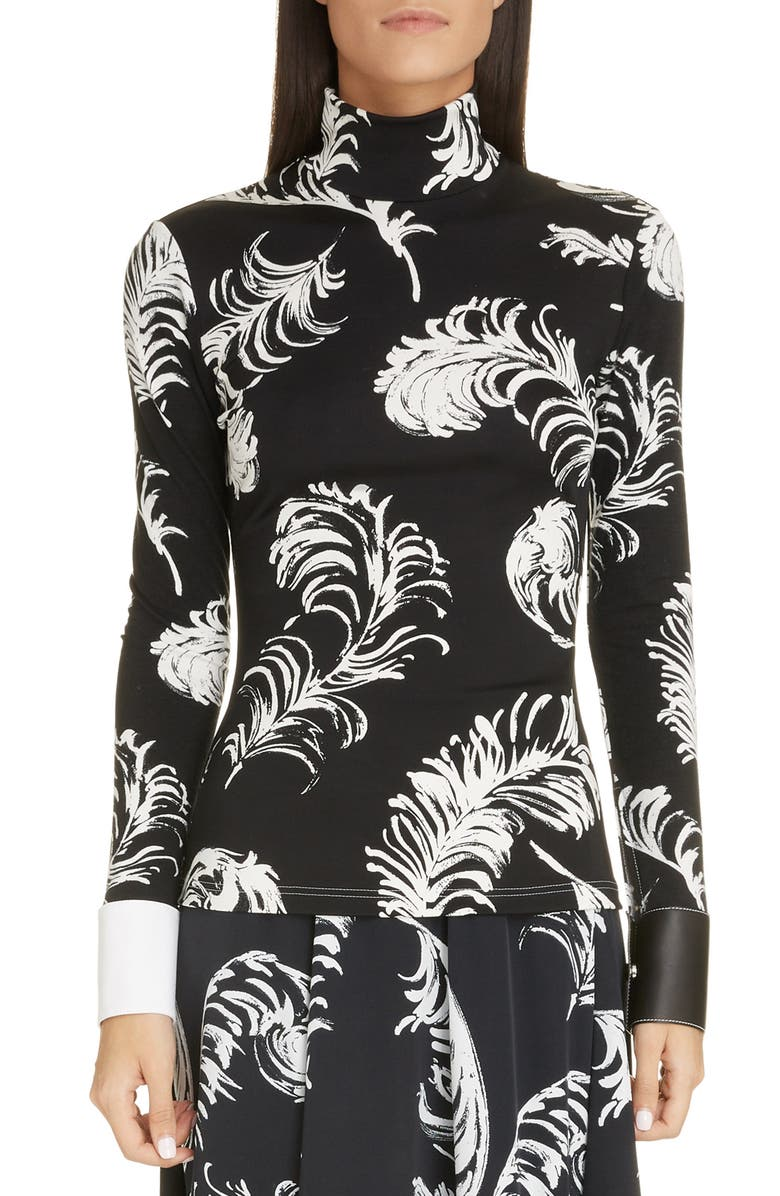 LOEWE Leather Cuff Feather Print Top, Main, color, BLACK/ WHITE