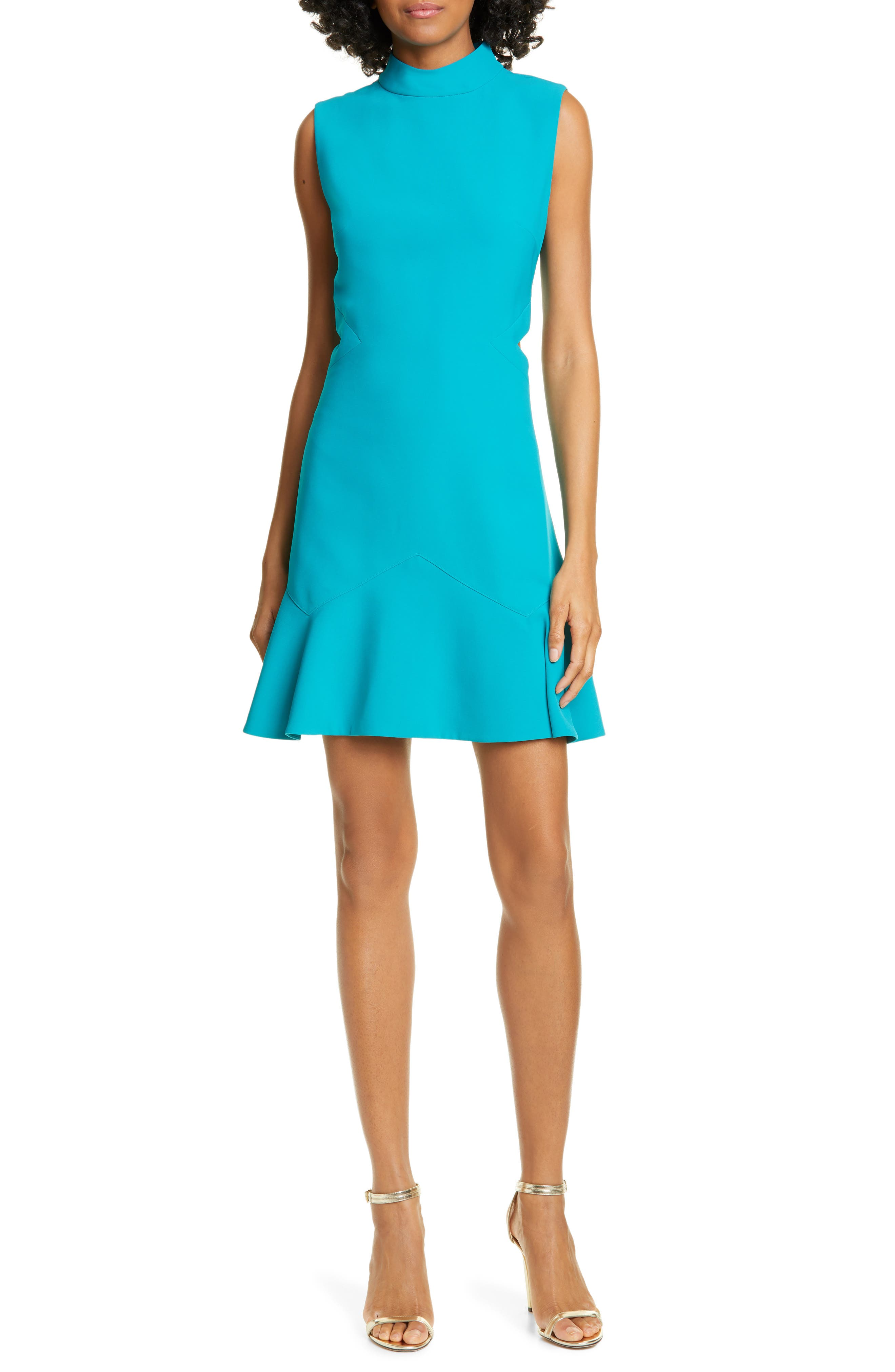Ted Baker London Cormier Cutout Fluted Hem Dress, Blue