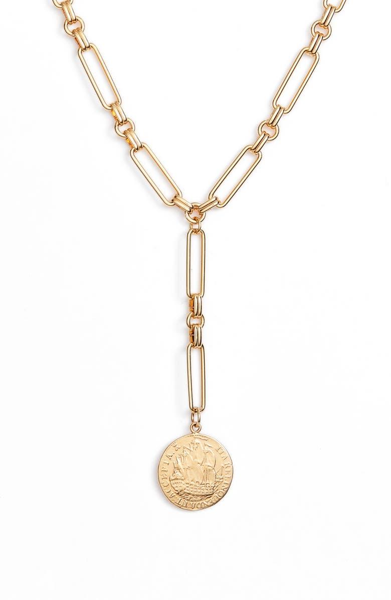BRACHA C'est La Vie Lariat Necklace, Main, color, GOLD
