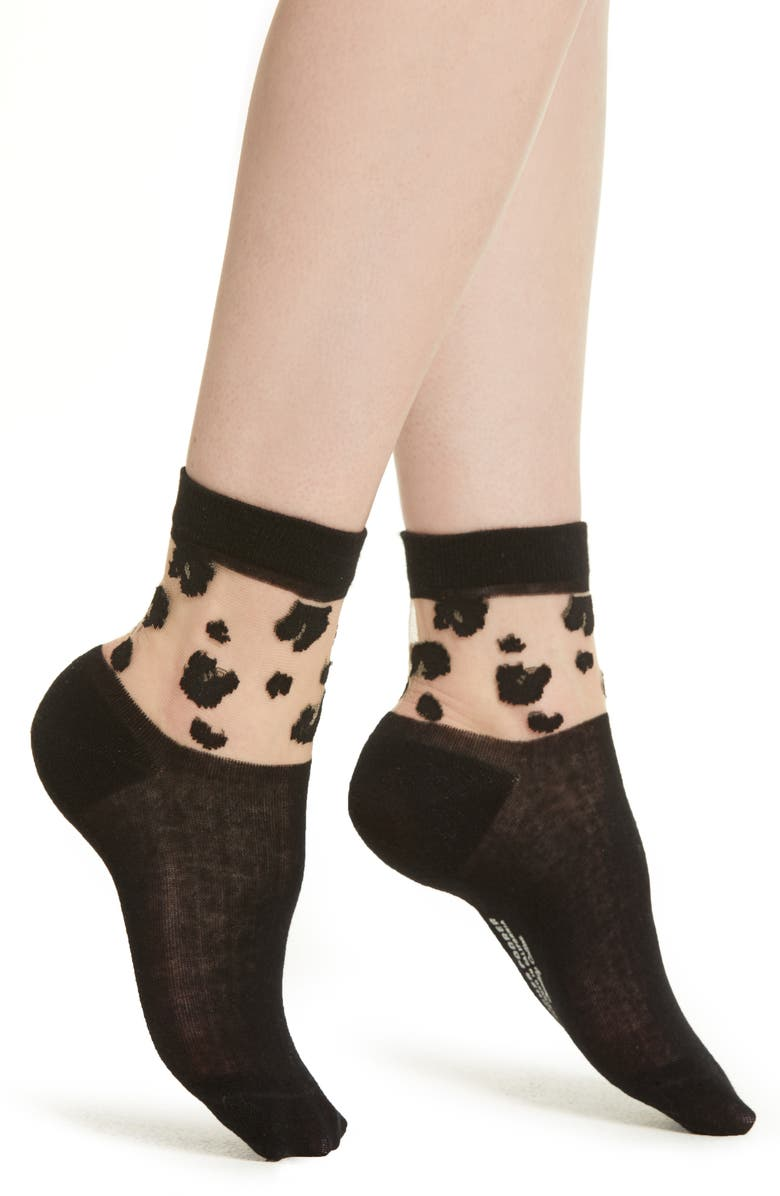 RICHER POORER Cheeta Ankle Socks, Main, color, 001