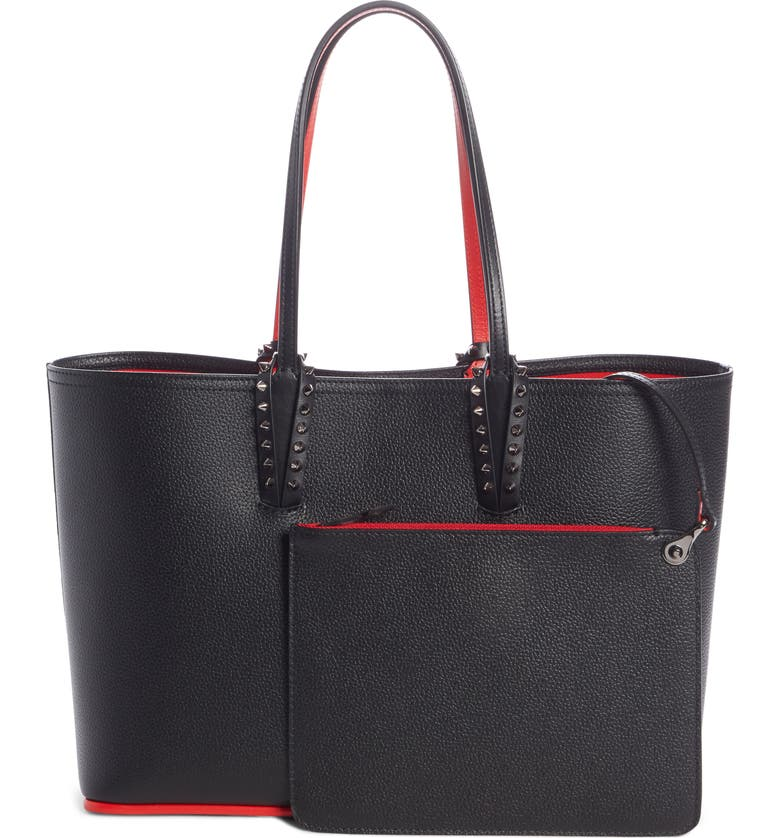 CHRISTIAN LOUBOUTIN Small Cabata Calfskin Leather Tote, Main, color, BLACK/ BLACK