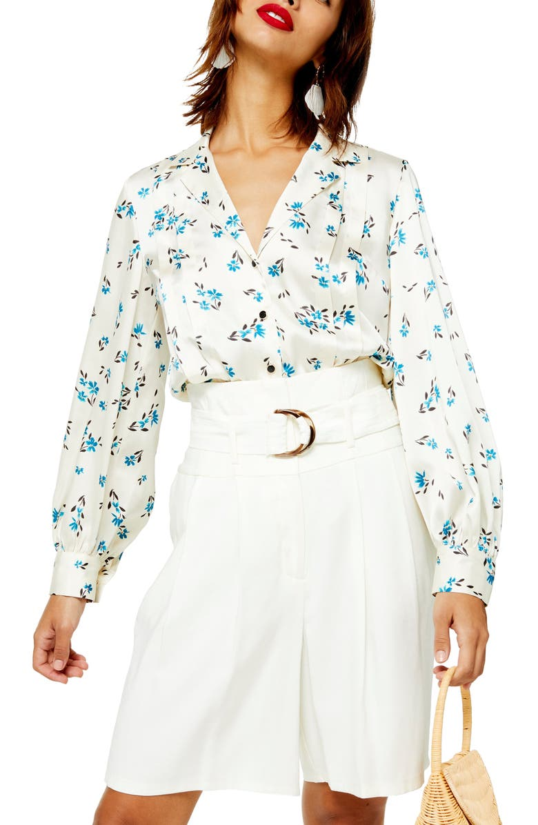 TOPSHOP Floral Pintuck Shirt, Main, color, CREAM MULTI
