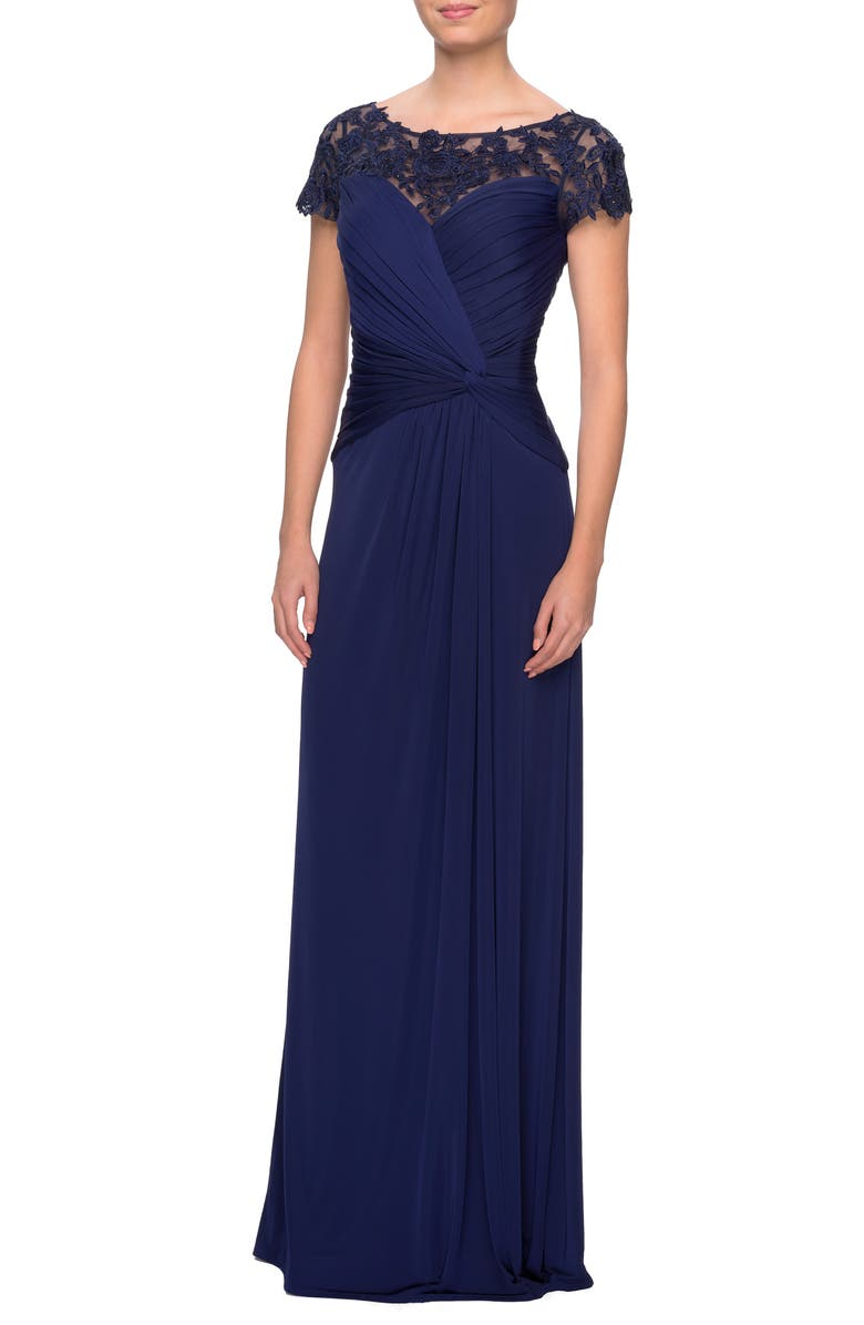 LA FEMME Illusion Yoke Twist Front Jersey Gown, Main, color, 410