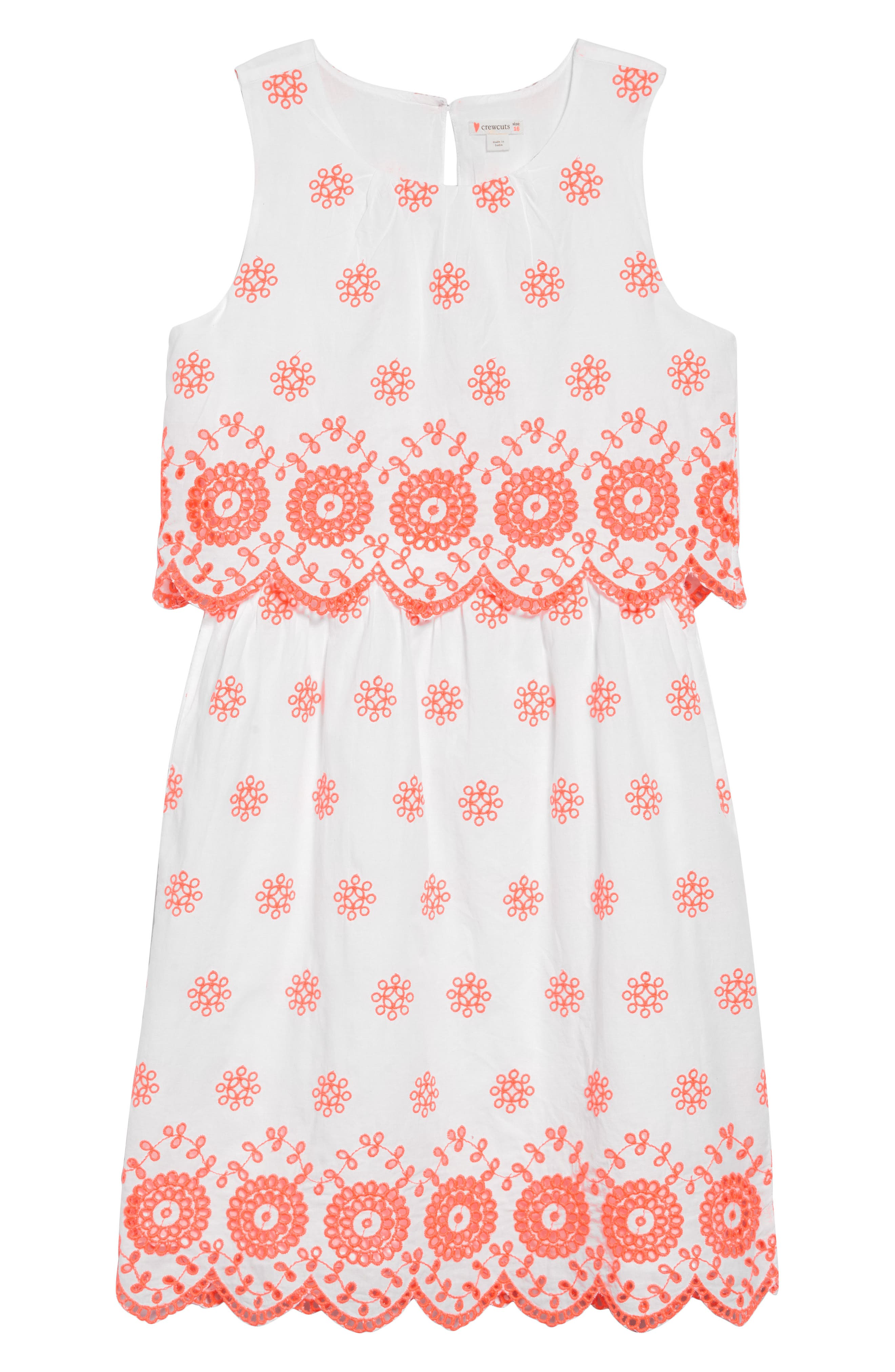 ,                             Scalloped Eyelet Sleeveless Dress,                             Main thumbnail 1, color,                             IVORY NEON CORAL