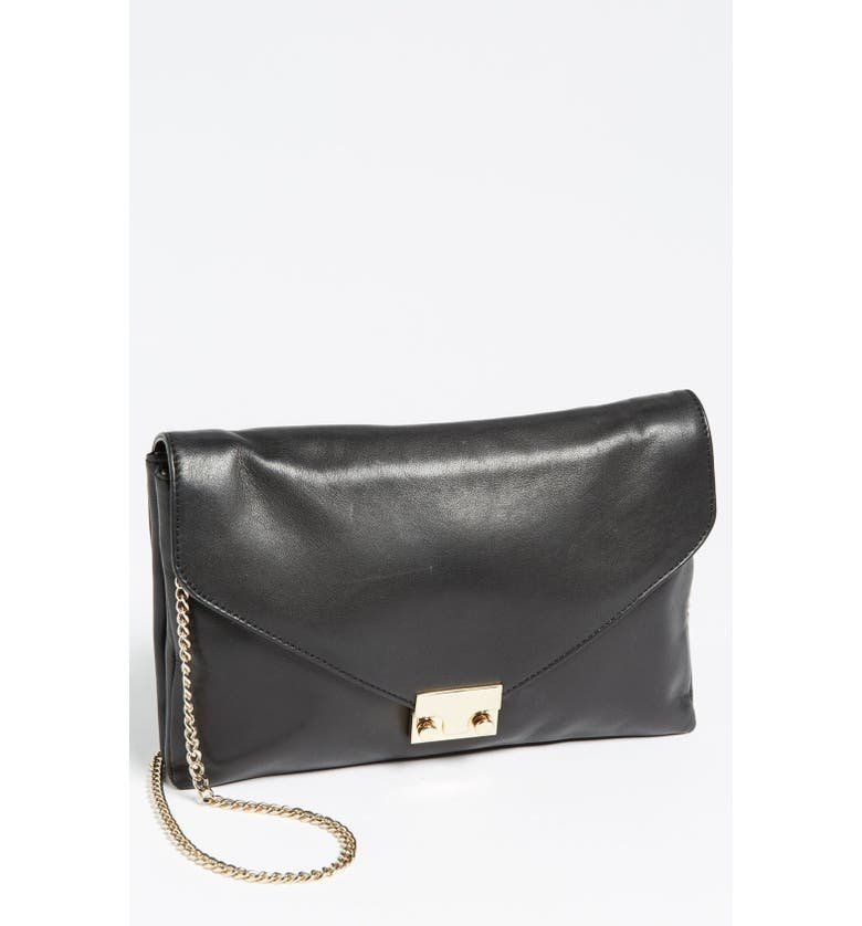 LOEFFLER RANDALL 'Lock' Leather Clutch, Small, Main, color, 001