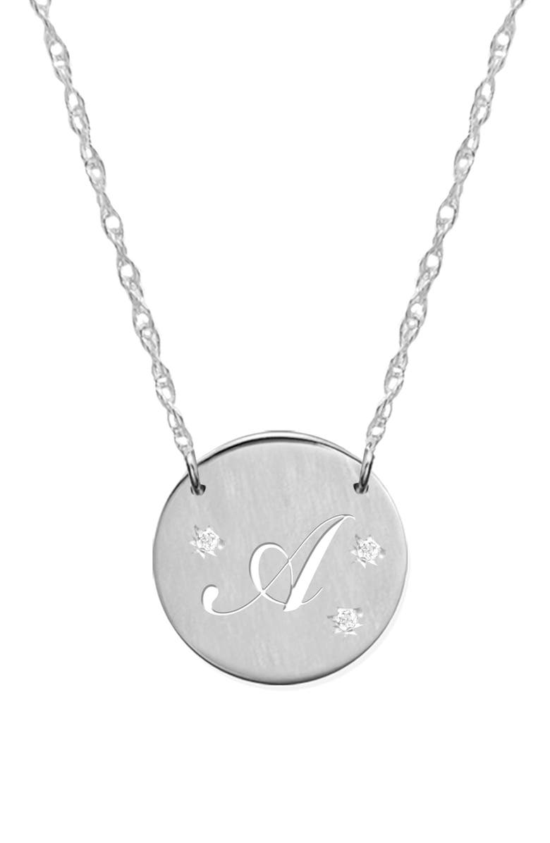 JANE BASCH DESIGNS Pierced Initial Diamond Pendant Necklace, Main, color, SILVER- A
