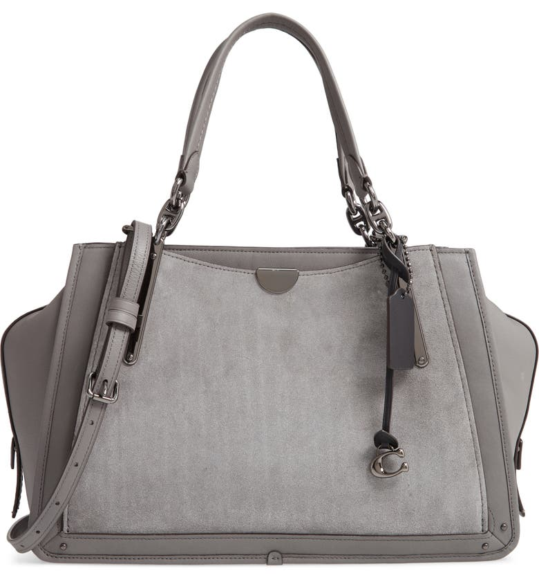 COACH Dreamer 36 Mixed Leather Satchel, Main, color, HEATHER GREY