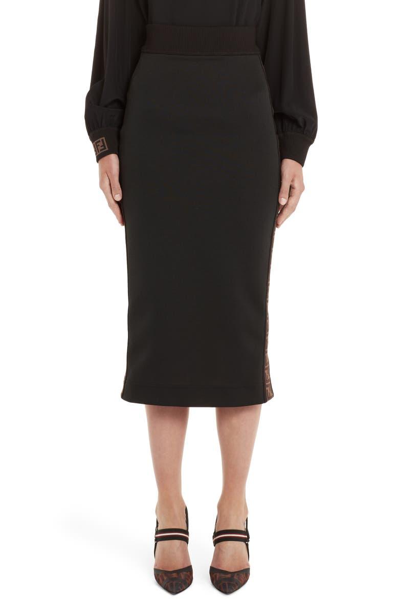 FENDI Logo Stripe Jersey Pencil Skirt, Main, color, BLACK