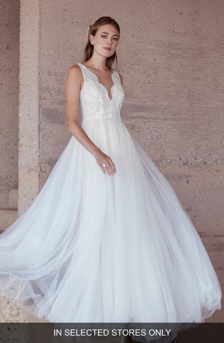 WATTERS Van Der Wal Lace & Tulle Wedding Dress, Main, color, IVORY/IVORY