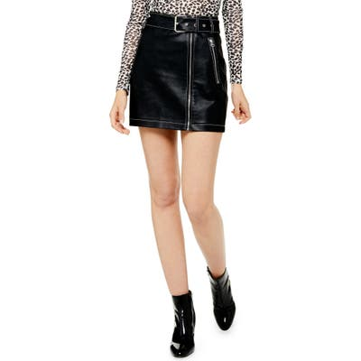 Topshop Faux Leather Miniskirt, US (fits like 2-4) - Black