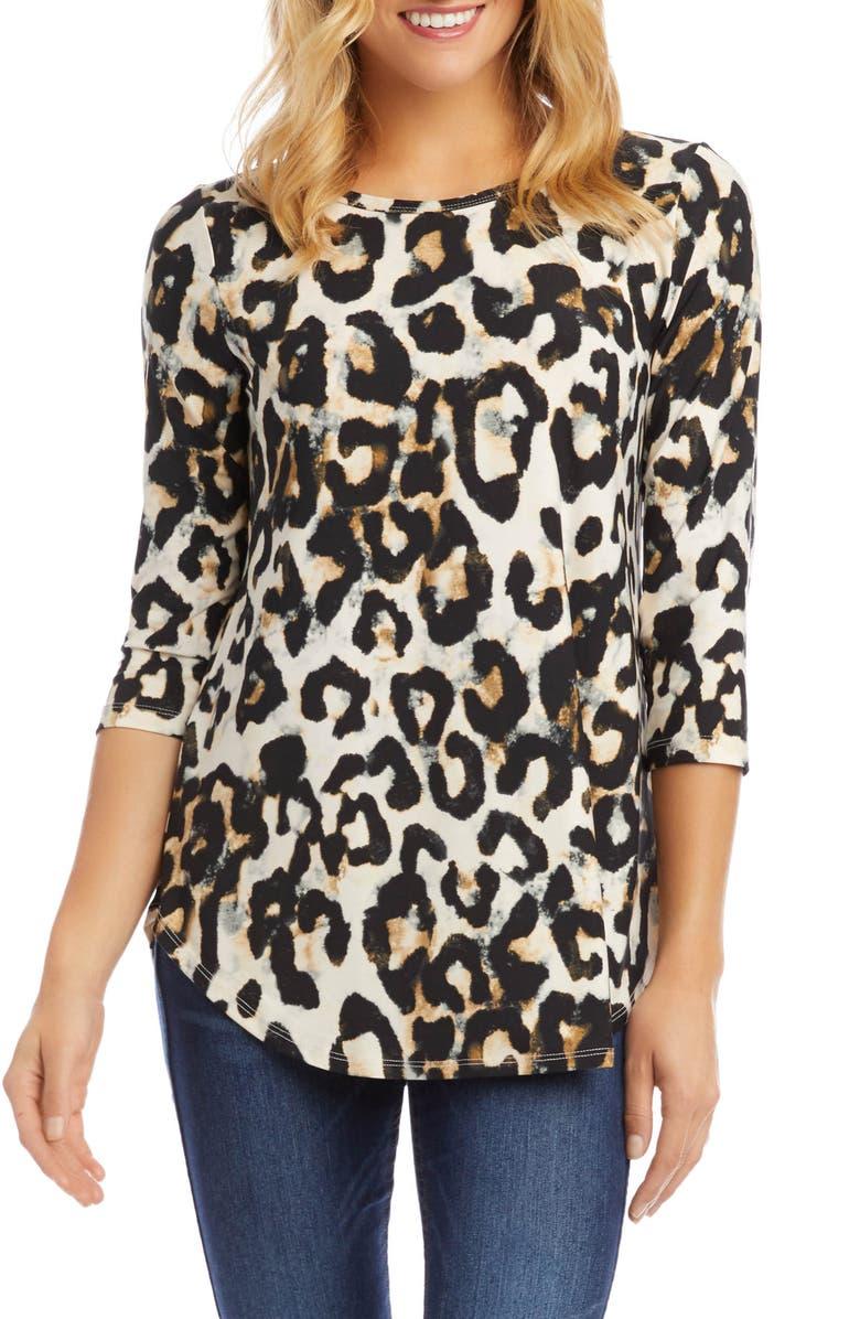 KAREN KANE Cheetah Print Shirttail Top, Main, color, 200