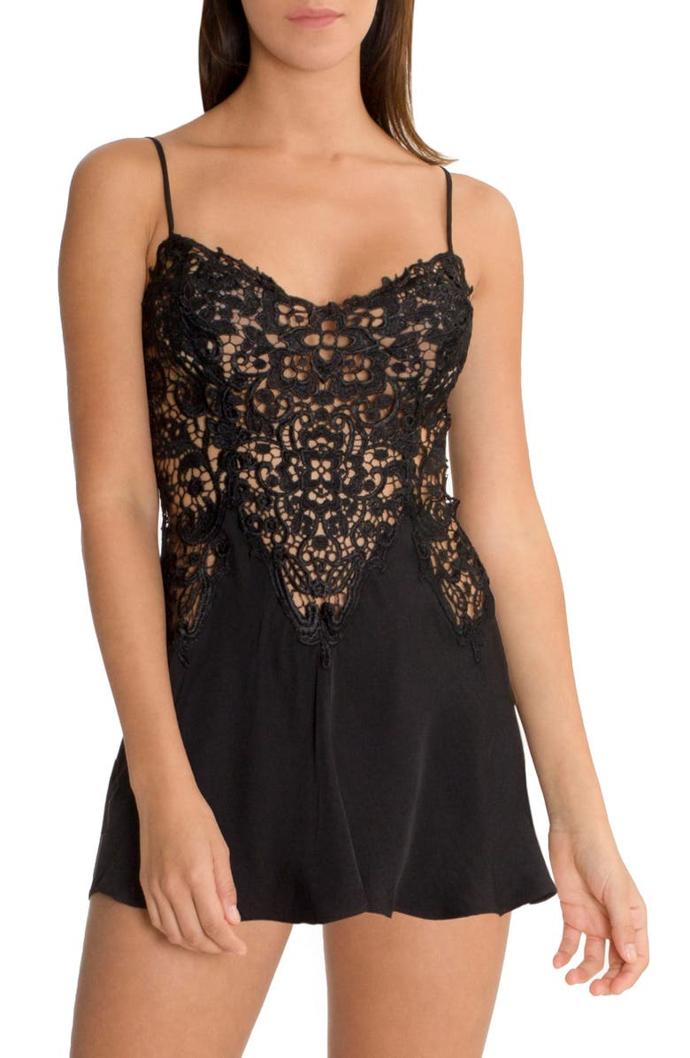 IN BLOOM BY JONQUIL Lace & Satin Chemise, Main, color, 001