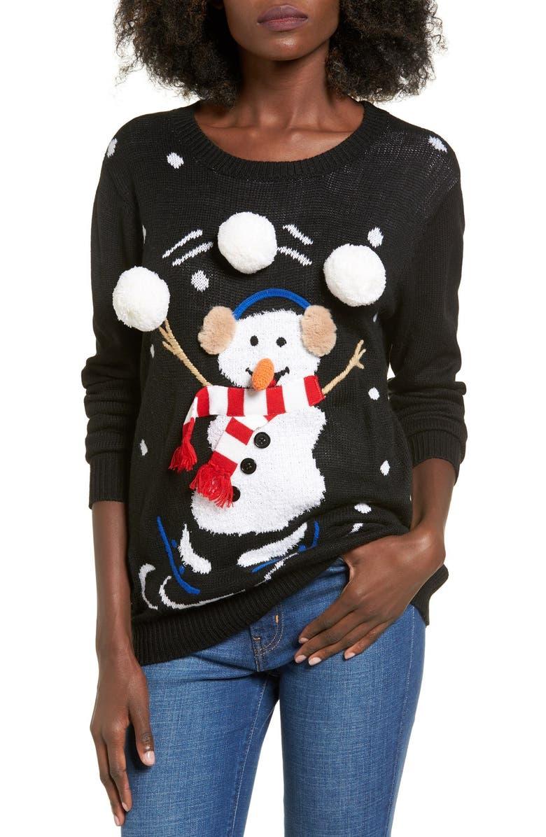 TEN SIXTY SHERMAN Snowman Juggle Sweater, Main, color, 001