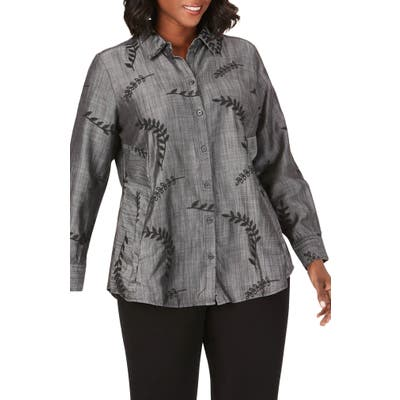 Plus Size Foxcroft Cici Embroidered Tencel Lyocell Tunic Shirt, Grey