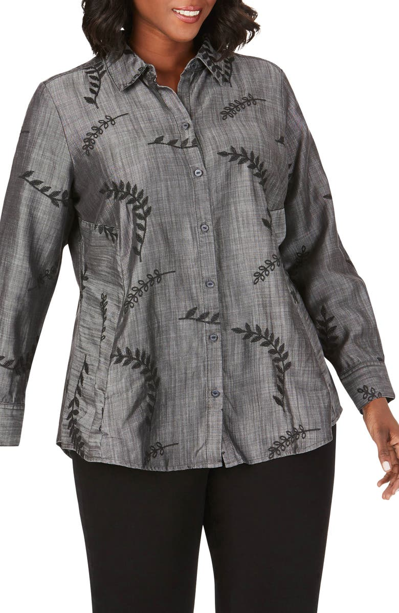 FOXCROFT Cici Embroidered Tencel<sup>®</sup> Lyocell Tunic Shirt, Main, color, CHARCOAL