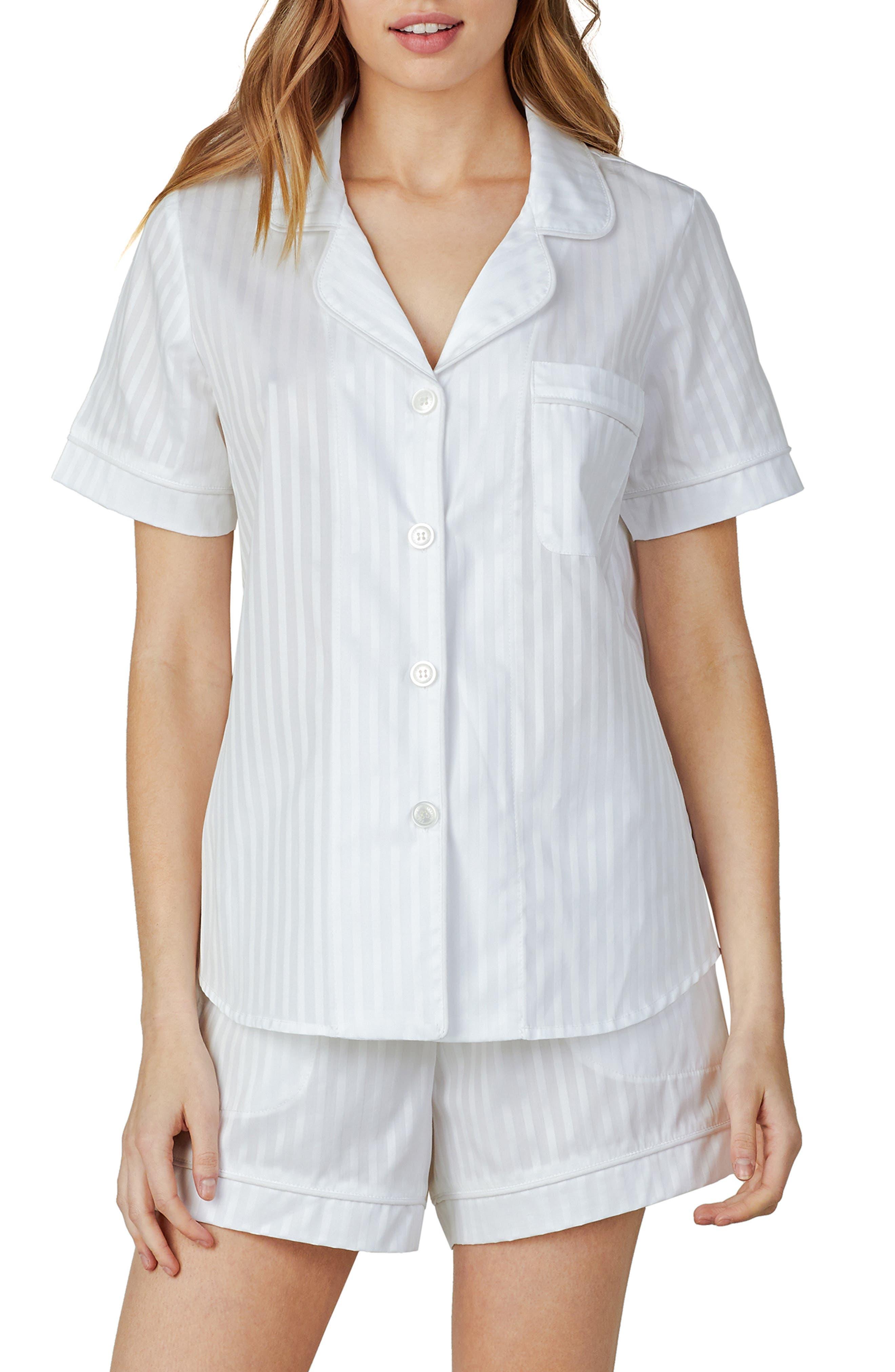 Vintage Nightgowns, Pajamas, Baby Dolls, Robes Womens Bedhead Pajamas 3D Stripe Organic Cotton Sateen Short Pajamas Size Large - White $114.00 AT vintagedancer.com
