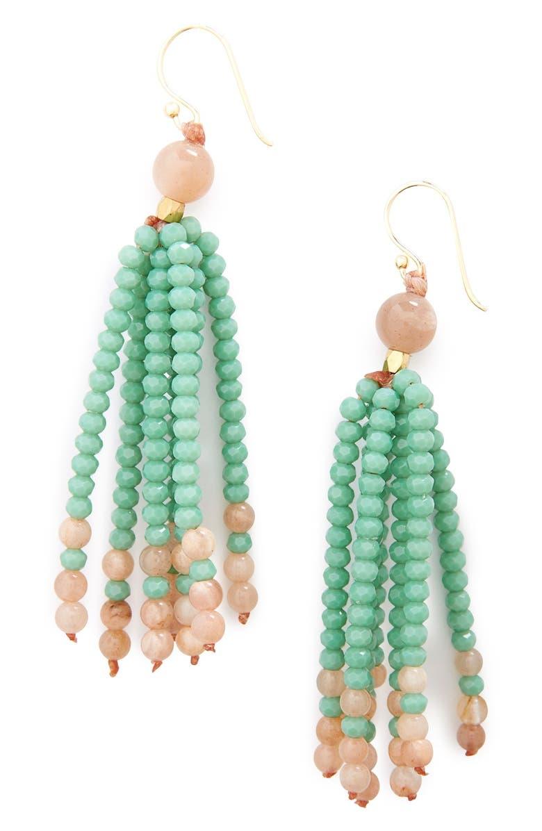 PANACEA Stone & Bead Tassel Earrings, Main, color, 600