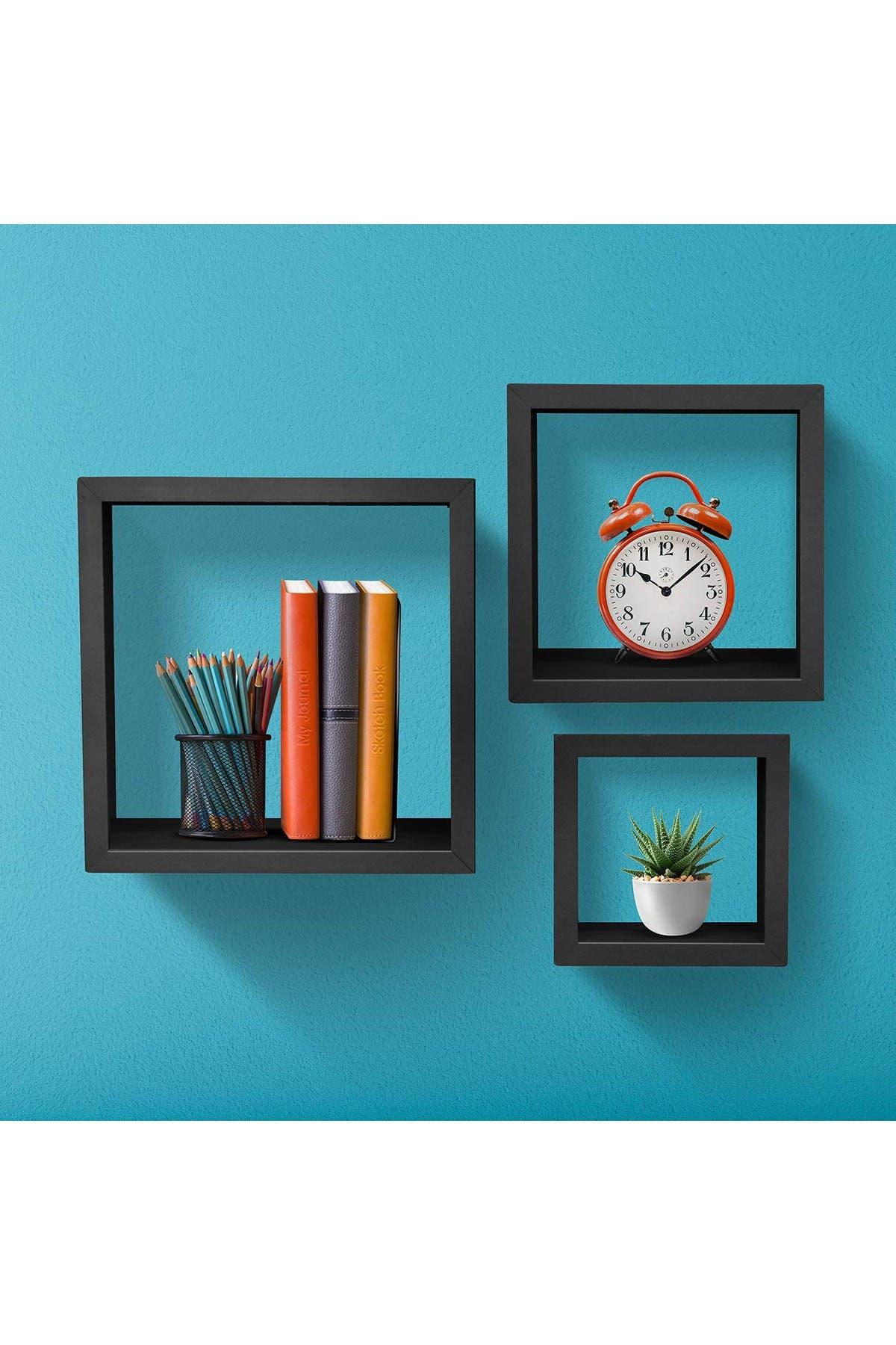 Image of Sorbus Square Decor Shelves - Set of 3 - Matte Black