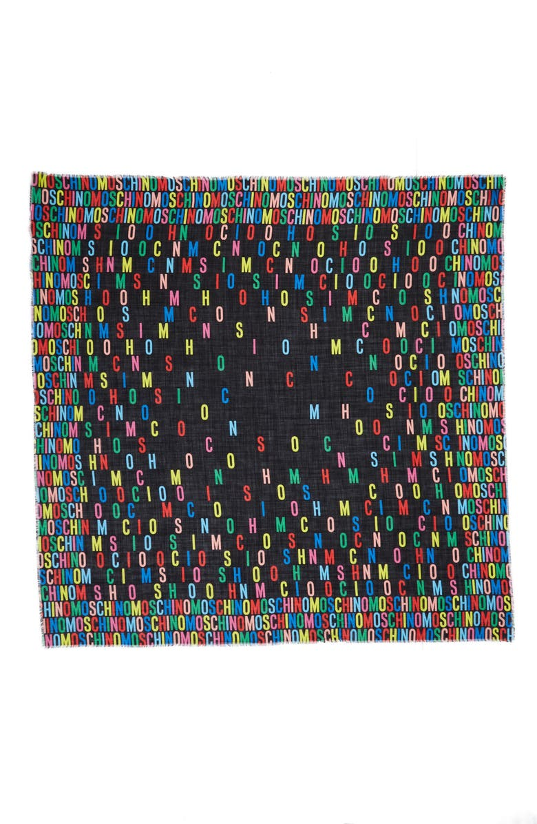 MOSCHINO Large Letters Wool & Cashmere Scarf, Main, color, BLACK MULTI