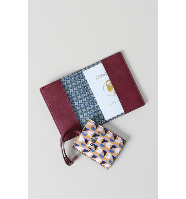 ANTHROPOLOGIE HOME Valery Passport Case & Luggage Tag Set, Main, color, YELLOW