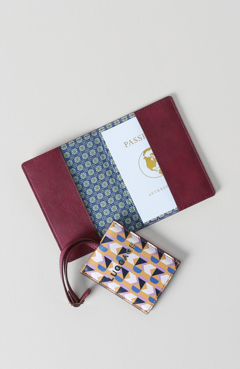 ANTHROPOLOGIE Valery Passport Case & Luggage Tag Set, Main, color, YELLOW