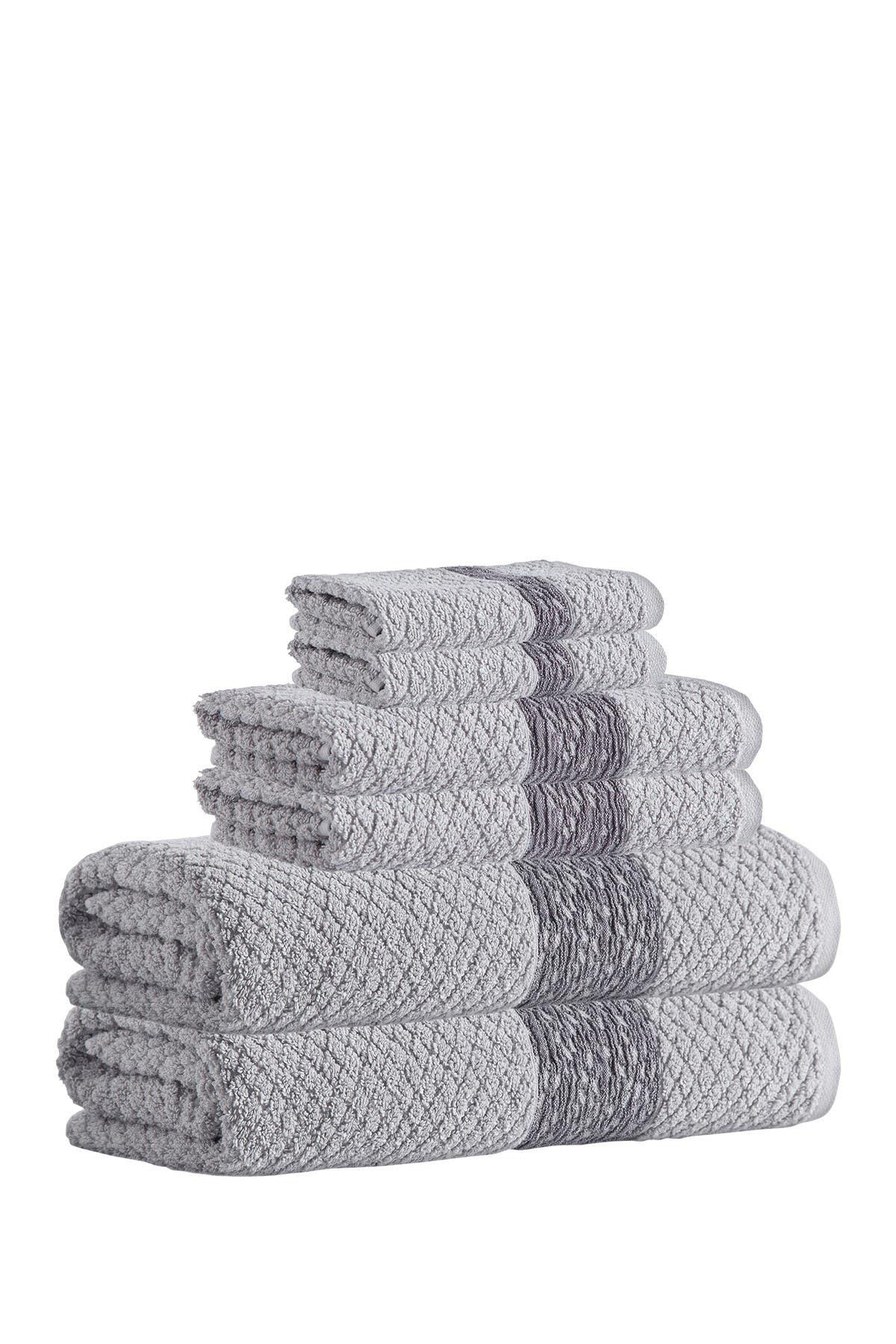 Image of ENCHANTE HOME Anton Turkish Cotton 6-Piece Towel Set - Silver