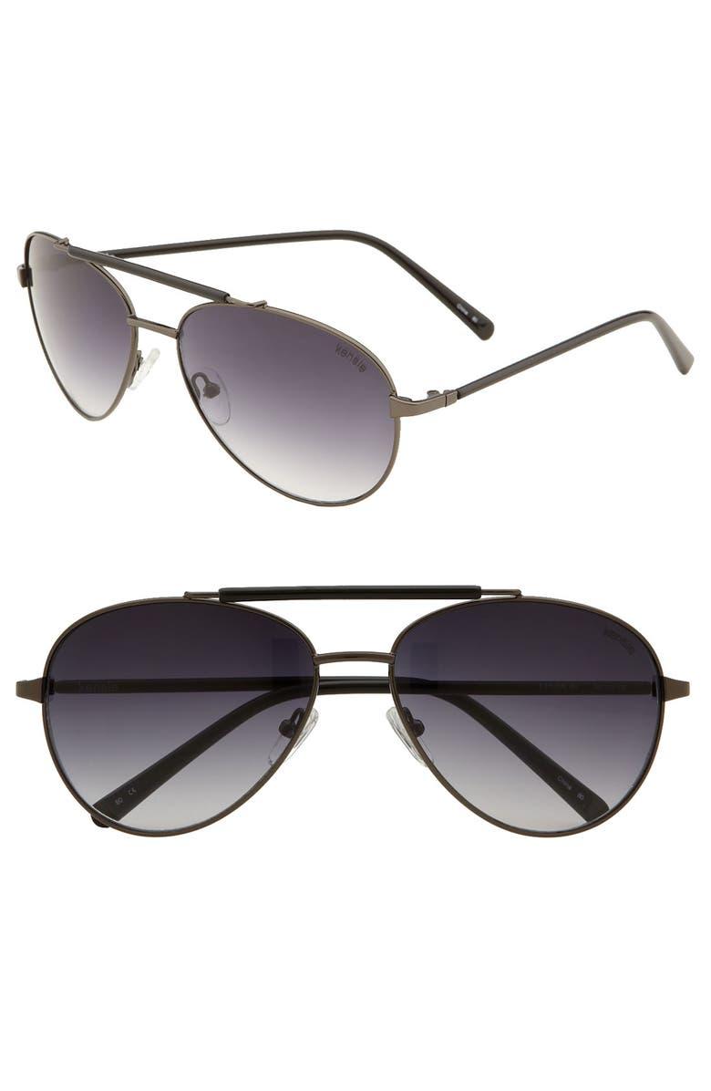 KENSIE 'Esther' Aviator Sunglasses, Main, color, GUNMETAL / BLACK