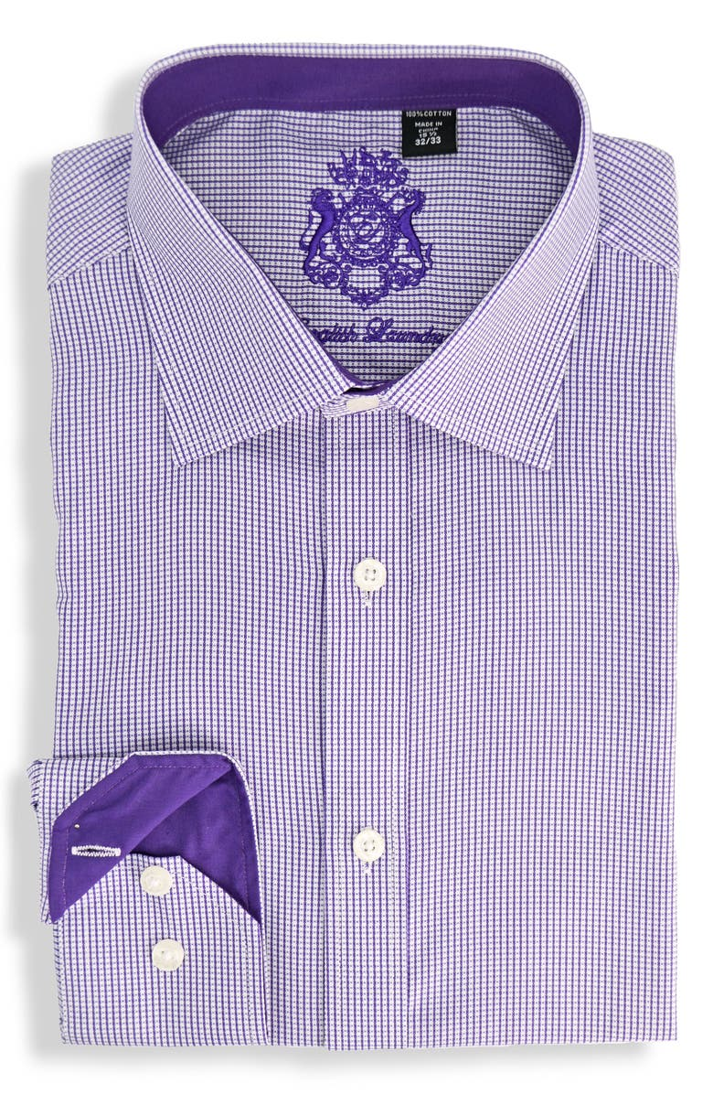 ENGLISH LAUNDRY Regular Fit Geometric Dress Shirt, Main, color, PURPLE