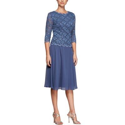 Alex Evenings Mock Two-Piece Tea Length Dress, 8 (similar to 1) - Blue