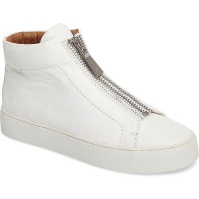 Frye Lena Zip High Top Sneaker- White